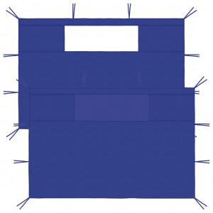 Pereți laterali foișor cu ferestre, 2 buc., albastru