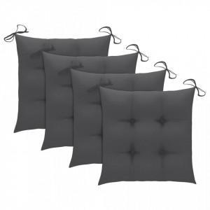 Perne de scaun, 4 buc., antracit, 40 x 40 x 7 cm, textil