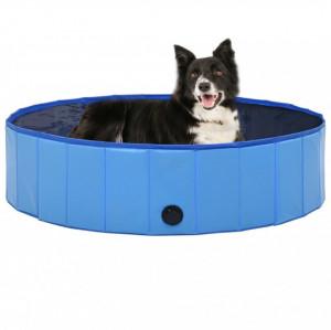 Piscină pentru câini pliabilă, albastru, 120 x 30 cm, PVC