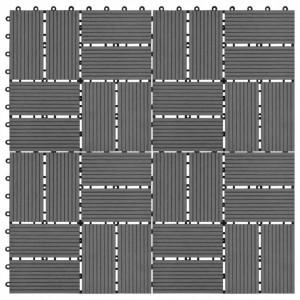Plăci de podea, 11 buc., gri, 30 x 30 cm, 1 mp, WPC
