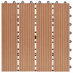Plăci podea, 11 buc., culoare tec, 30 x 30 cm, WPC, 1mp
