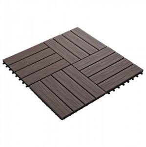 Plăci podea în relief, WPC, 11 buc, 30x30 cm, 1 mp, maro închis