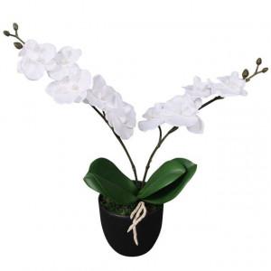 Plantă artificială orhidee cu ghiveci, 30 cm, alb
