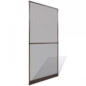 Plasă maro cu balamale pentru uși împotriva insectelor 100 x 215 cm