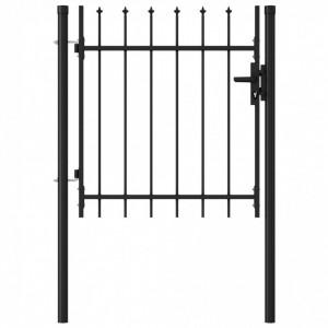 Poartă de gard cu o ușă, vârf ascuțit, negru, 1 x 1 m, oțel