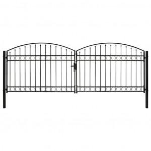 Poartă de gard dublă cu arcadă, negru, 400 x 125 cm, oțel