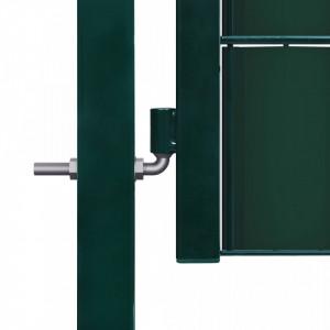 Poartă de gard, verde, 100 x 124 cm, oțel