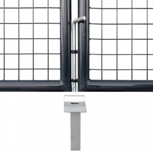 Poartă din plasă de grădină, gri, 289x200 cm, oțel galvanizat