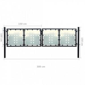 Poartă dublă neagră pentru gard 300 x 150 cm