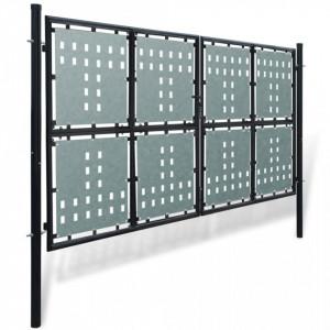 Poartă dublă neagră pentru gard 300 x 250 cm