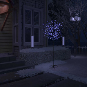 Pom Crăciun, 200 LED-uri lumină albastră, flori de cireș 180 cm