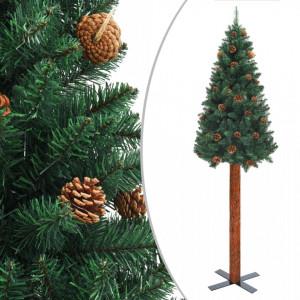 Pom Crăciun artificial subțire lemn și conuri verde 210 cm PVC