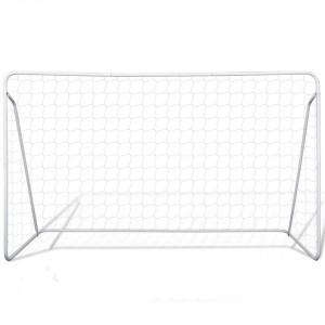 Porți de fotbal cu plasă, 2 buc, 240 x 90 x 150 cm, oțel