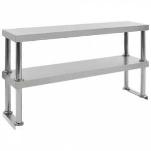 Raft masă de lucru cu 2 niveluri, 120x30x65 cm, oțel inoxidabil