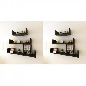 Rafturi de perete, 6 buc., negru