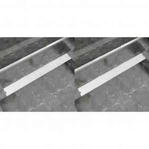Rigolă duș liniară, 2 buc., 1030x140 mm, oțel inoxidabil, bule