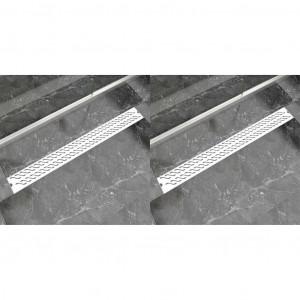 Rigolă duș liniară 2 buc. 1030x140 mm oțel inoxidabil valuri