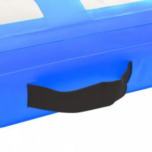 Saltea gimnastică gonflabilă cu pompă albastru 300x100x20cm PVC