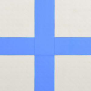 Saltea gimnastică gonflabilă cu pompă albastru 400x100x20cm PVC