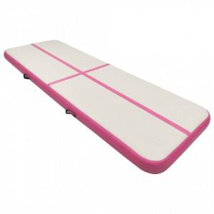 Saltea gimnastică gonflabilă cu pompă roz 400x100x15 cm PVC