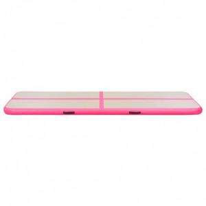 Saltea gimnastică gonflabilă cu pompă roz 700x100x10cm PVC
