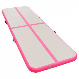 Saltea gimnastică gonflabilă cu pompă roz 800x100x10cm PVC