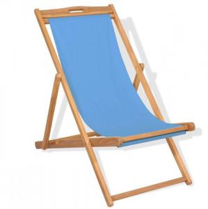 Scaun de exterior, albastru, 56 x 105 x 96 cm, lemn de tec