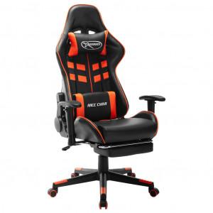 Scaun gaming cu suport picioare, negru/oranj, piele ecologică