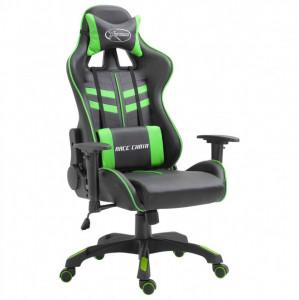 Scaun pentru jocuri, verde, PU