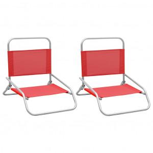 Scaune de plajă pliante, 2 buc., roșu, material textil