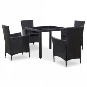 Set de mobilier de exterior, 5 piese, negru, poliratan