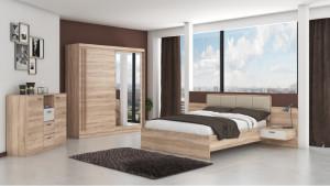 Set Dormitor Effect, Sonoma, Dulap 200 cm, Pat 160x200 cm, 2 noptiere, comoda