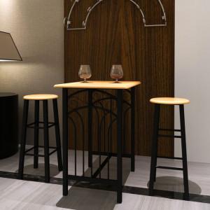 Set masă și scaune, lemn cafeniu si otel, Negru