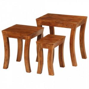 Set mese suprapuse,3 piese,lemn masiv acacia, 50x35x50 cm, maro