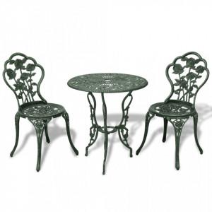 Set mobilier bistro, 3 piese, verde, aluminiu turnat