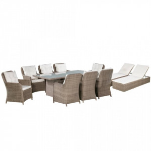 Set mobilier de exterior, 11 piese, maro, poliratan