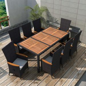 Set mobilier de exterior 9 piese negru poliratan lemn de acacia