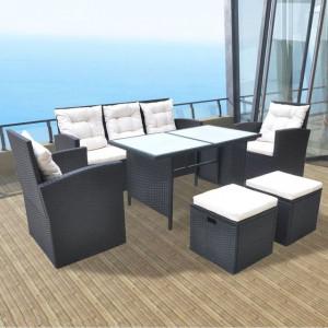 Set mobilier de exterior cu perne, 6 piese, negru, poliratan