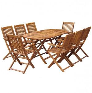Set mobilier de exterior pliabil, 9 piese, lemn masiv de acacia