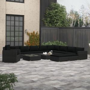 Set mobilier de grădină cu perne, 13 piese, negru, poliratan