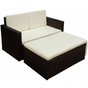 Set mobilier de grădină cu perne, 2 piese, maro, poliratan