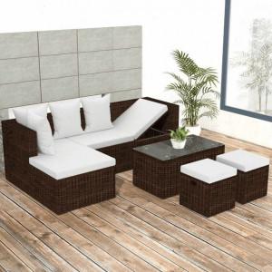 Set mobilier de grădină cu perne, 4 piese, maro, poliratan