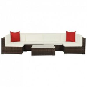 Set mobilier de grădină cu perne, 7 piese, maro, poliratan