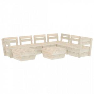 Set mobilier de grădină din palet 8 piese lemn de molid tratat
