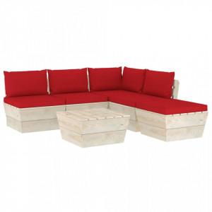 Set mobilier grădină din paleți, 6 piese, cu perne, lemn molid
