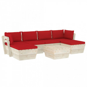 Set mobilier grădină din paleți cu perne, 7 piese, lemn molid