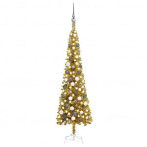 Set pom de Crăciun subțire cu LED-uri și globuri, auriu, 150 cm