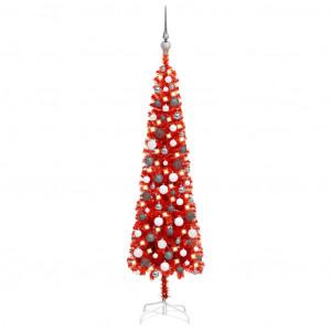 Set pom de Crăciun subțire cu LED-uri și globuri, roșu, 150 cm