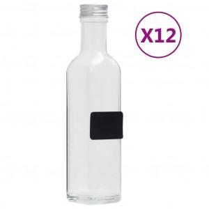 Sticle, capace cu filet, 12 buc., 250 ml, pătrat