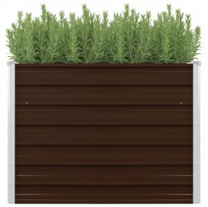 Strat înălțat de grădină, maro, 100x100x77 cm, oțel galvanizat
